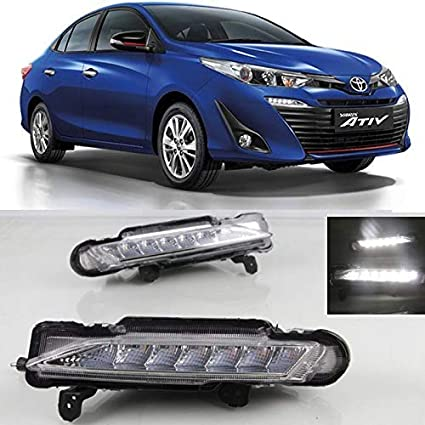 automaze car fog lamp daytime time running lights (drl) for toyota yaris,  2pc set, led drl: amazon in: car & motorbike