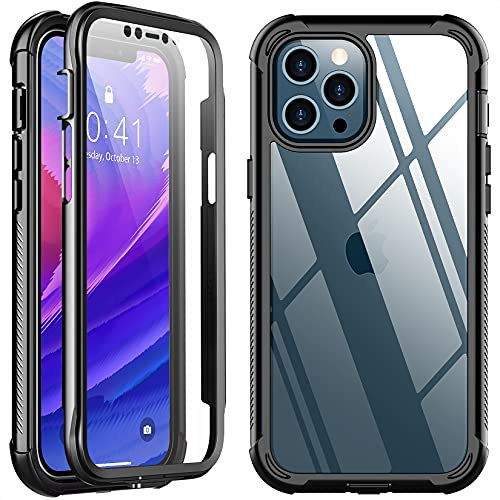 SPIDERCASE Designed for iPhone 12 Pro Max Case, with Built-in Screen Protector Full Heavy Duty Protection Shockproof Anti-Scratched Rugged Case for iPhone 12 Pro Max(Black)