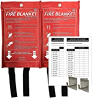 72 HRS Fire Blanket, Each Pouch Include One Hook with Tape & 1-year Inspection Record Card, Fireproof Blan