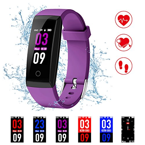 Pro Watch Heart Monitor Rate (Kirlor Fitness Tracker, Version Colorful Screen Smart Bracelet with Heart Rate Blood Pressure Monitor,Smart Watch Pedometer Activity Tracker Bluetooth for Android & iOS (Purple))
