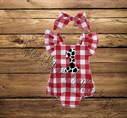 - 1st BIRTHDAY RED CHECKERED GINGHAM MONOGRAMMED ROMPER-BABY GIRL FARM THEMED OUTFIT