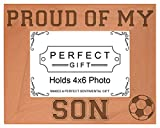 Soccer Dad Mom Gift Proud of my Son Sports Natural Wood Engraved 4x6 Landscape Picture Frame Wood
