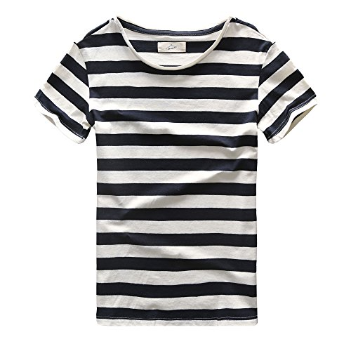Zecmos Mens Striped T-Shirt Casual Slim Fit Striped Tees Tops Summer Navy XXL