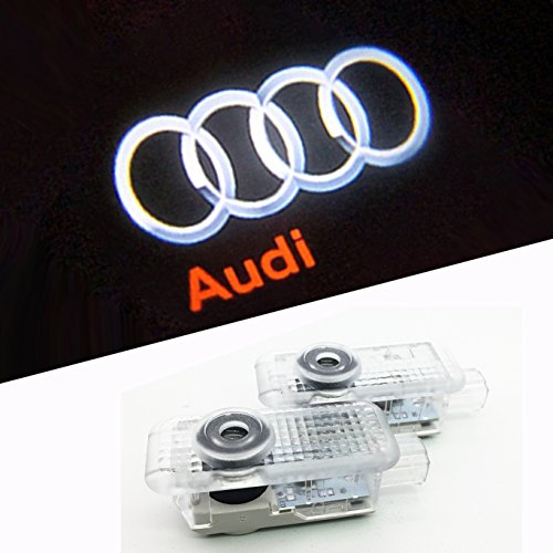 BAILONGJU Easy Installation Car Door LED Logo Projector Ghost Shadow Lights For Audi A4 A3 A6 Q7 Q5 A1 A5 TT A8 Q3 A7 R8 RS 2-pc (Audi A4 Projector)