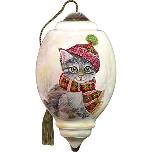 - Ne'Qwa Art Hand Painted Blown Glass Winter Kitten Ornament, Cat