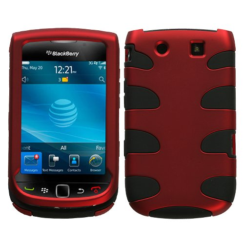 Blackberry Rubber Faceplates - MyBat BB9800HPCSK002NP Titanium Fishbone Protective Case for BlackBerry Torch 9800-1 Pack - Retail Packaging - Red/Black