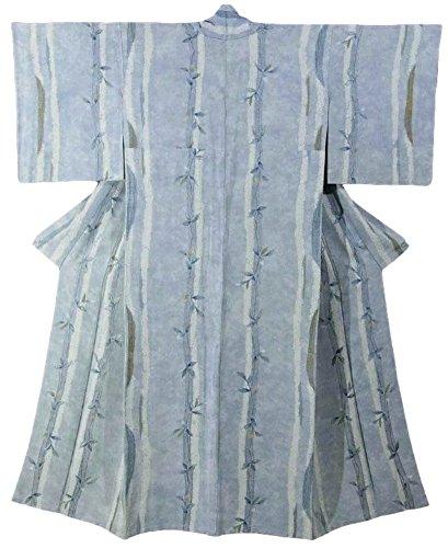 自分の推定不均一リサイクル 着物 小紋 正絹 瑞々しい枝葉 刺繍 絞り 胴抜き仕立て 裄62.5cm 身丈156cm