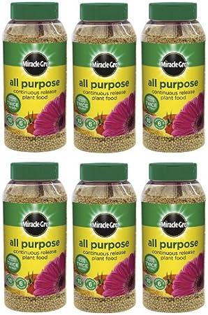 6 x Miracle-Gro lenta liberación continua multiusos Plant comida, 1 kg Shaker Jar