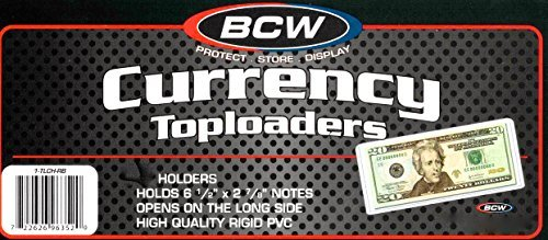 10 Ct. Top Load Currency Holders TLCH-RB for Regular Bills - Rigid