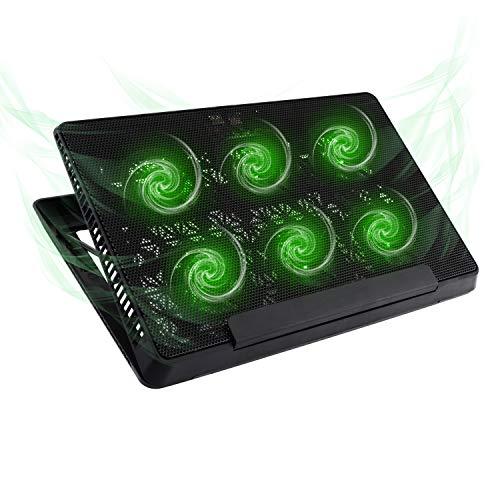 MoKo Laptop Cooler, Notebook Cooling Pad Adjustable Speed Cooler Silent Gaming Laptop Radiator with Adjustable Stand, 6 Fans, Green LED Lights, Dual USB Ports for 12-15.6 Inch Laptop - Black (Netbook Cooler)