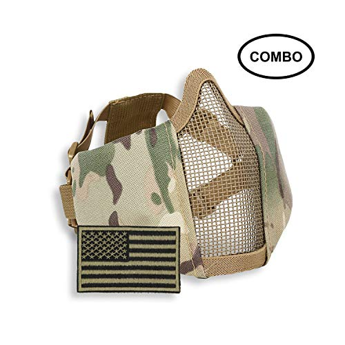 SPIKELAB Foldable Airsoft Half Face Metal Mesh Mask US Flag Patch Combo, Adjustable Military Tactical Mask Military Emblem Patch in Four Colors, PMC Outfit