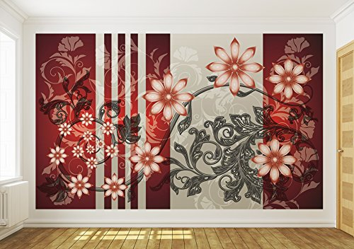 Red and Grey Luxury Flower Pattern Wallpaper Mural by Consalnet (Image #3)