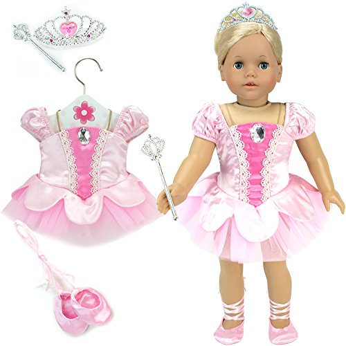 18 Inch Doll Ballet Costume with Tiara, Fits 18 Inch American Girl Dolls & More! 4pc. Classic Ballet Costume in Light Pink with Slippers, Wand & Tiara - 18 Doll Dance Costumes