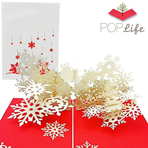 PopLife Winter Snowflake Flurry Pop Up Christmas Card - Handmade 3D Holiday Greeting, Thanksgiving, Blank Note, Small Stocking Present for Friends and Family, Naughty or Nice (Card Snowflake)