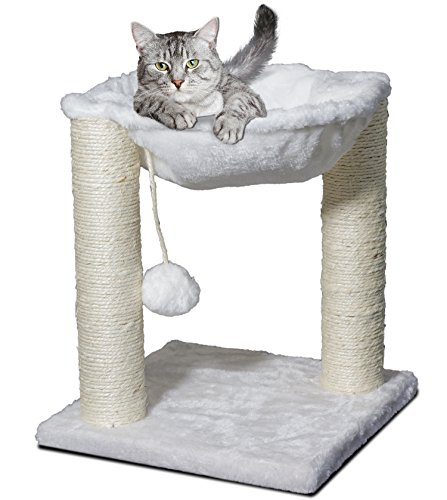 Paws & Pals Cat Tree House with Scratching Post Tower, Hammock Bed and Pet Toy Ball, Multi 2 Level, 20x20x64-Inches - White