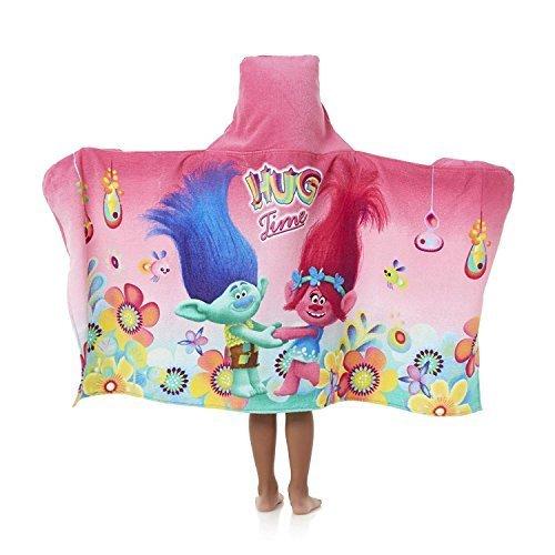 Dreamworks Trolls Girl's Hooded Towel Wrap 24'' x 50'' Cute Kid's Towel with Hood