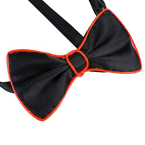 One Size Cold light voice-activated drive light-up glowing bow tie with colour Red/Orange/Green/Blue(Red)