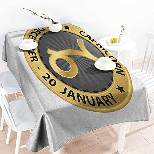 EwaskyOnline Large Rectangular Tablecloth,Zodiac Capricorn Abstract Symbol from Daily Horoscope with Stars Zodiac Sign Image,Party Decorations Table Cover Cloth,W60X90L, Gold and Black]()