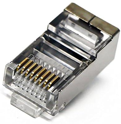 Tupavco Shielded RJ45 Crimp Connector (100 Pack Bag) 8P8C STP Ethernet Network Cable Plug Crimp Jack…