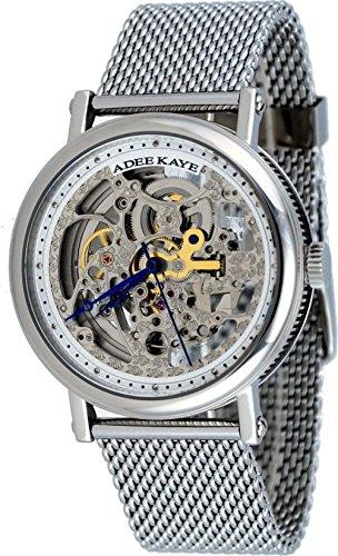 Adee Kaye Men's AK6462-M Stainless Steel Mesh Bracelet Skeleton Dial Automatic Watch