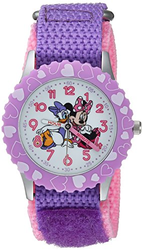 Disney Girl's 'Minnie Mouse' Quartz Stainless Steel and Nylon Casual Watch, Color:Purple (Model: WDS000162)