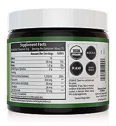 Organic Spirulina Powder: 4 Organic Certifications - Certified Organic by USDA, Ecocert, Naturland & OCIA - Vegan Farming Process, Non-Irraditated, Max Nutrient Density