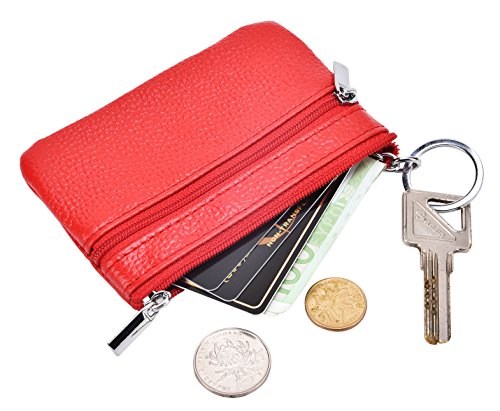 DEEZOMO RFID Blocking Genuine Leather Zipper Change Purse Coin Wallet with Key Ring - Red (Make Change Purse)
