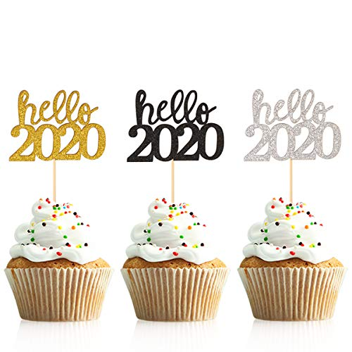 Donoter 36 Pcs Glitter New Year Cupcake Toppers Happy 2020 Hello 2020 Cheers to 2020 Cake Picks for New Years Eve Party Decoration (Hello 2020)