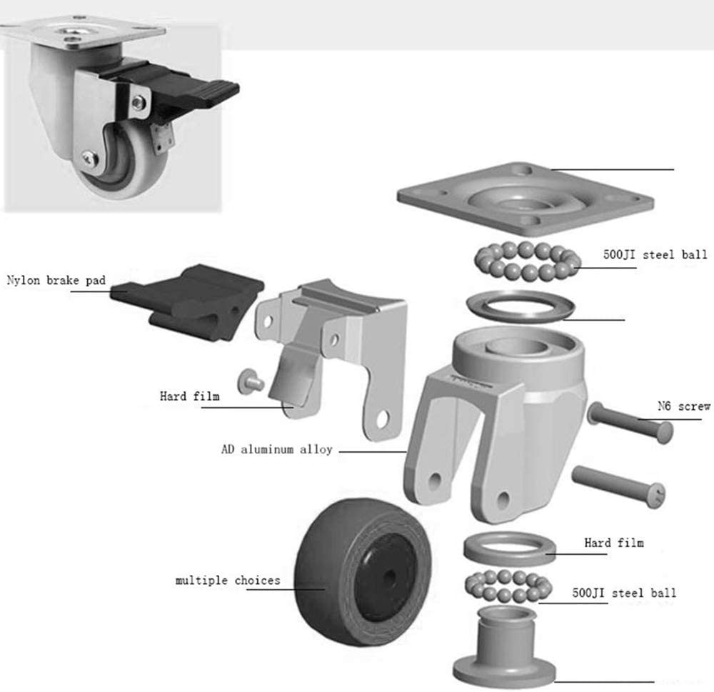 Color : -, Size : 2 Brakes+2 no Brakes MEEY Casters 4X 2in Combination Heavy Duty 360 Degree Rotation with Brake Durable Easy to Install Golden for Furniture and DIY
