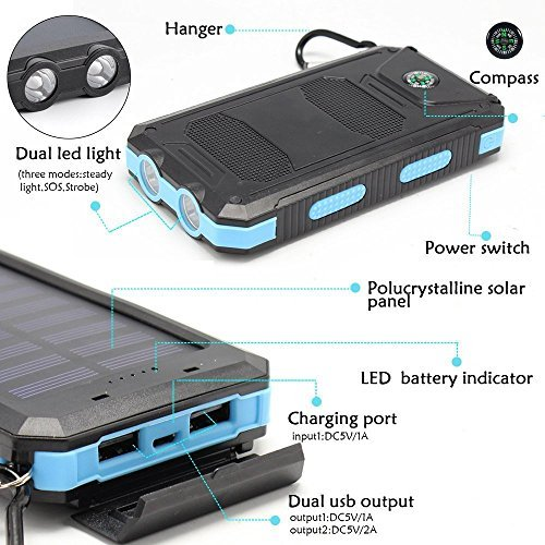 Solar Charger, Solar External Battery Pack,Portable 8000mAh Dual USB Solar Battery Charger Power Bank Phone Charger