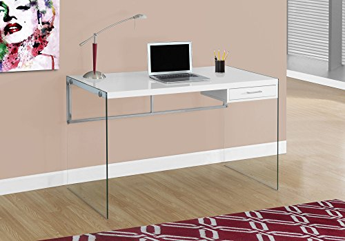 Monarch Computer Desk, Glossy White, 48″