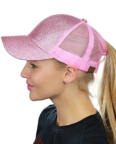 C.C Ponycap Messy High Bun Ponytail Adjustable Glitter Mesh Trucker Baseball Cap, ()