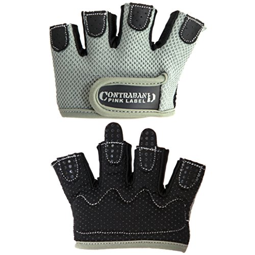 Contraband Pink Label 5537 Womens MICRO Weight Lifting Gloves w/ Grip-Lock Padding (PAIR) (Gray, Medium)
