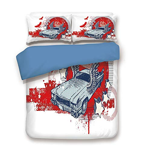 iPrint Duvet Cover Set,Blue Back,Retro,Abstract Illustration Hand Drawn Winged Crowned Vintage Style Car Birds and Stars,Red Baby Blue,Decorative 3 Pcs Bedding Set by 2 Pillow Shams,Queen Size