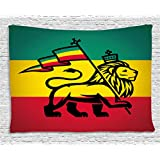 Rasta Tapestry by Ambesonne, Judah Lion with a Rastafari Flag King Jungle Reggae Theme Art Print, Wall Hanging for Bedroom Living Room Dorm, 60 W X 40 L Inches, Black Green Yellow and Red