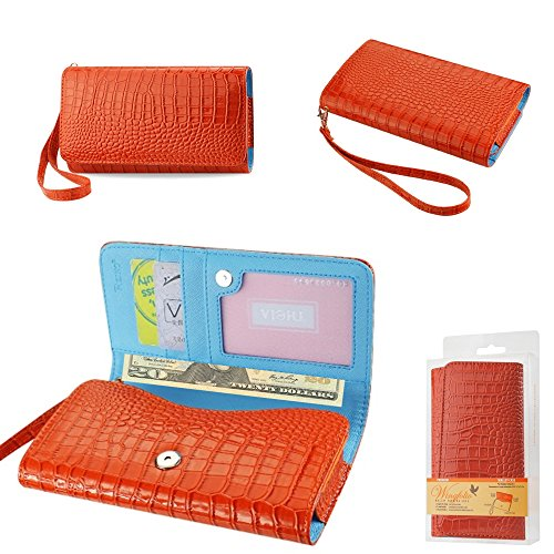 Click to buy Wallet Orange Alligator with Cash Pocket, Credit card slots and ID Window for LG K8 V with a cover on it. Comes with wrist strap. - From only $19.99