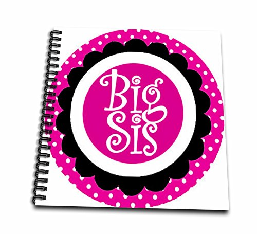 3dRose Big SIS Sister Pink Scallop and Polka Dots Circle Family Design-Drawing Book, 8 by 8