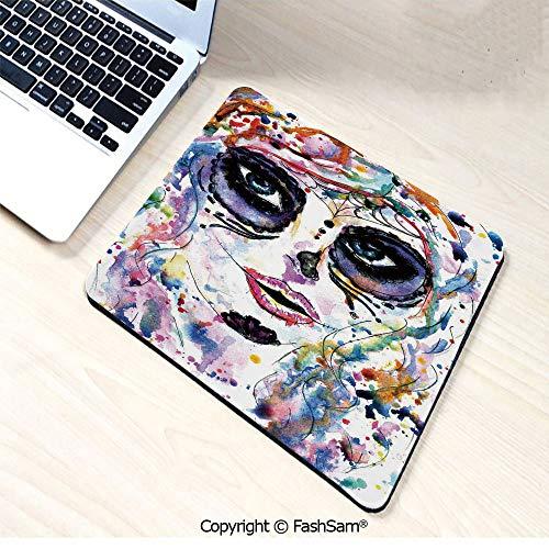 Non-Slip Rubber Mouse Pads Halloween Girl with Sugar Skull Makeup Watercolor Painting Style Creepy Decorative for Computers Laptop Office(W7.8xL9.45)