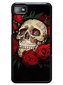 Case Cover for Blackberry Z10 ,Unique Rose Floral Skull