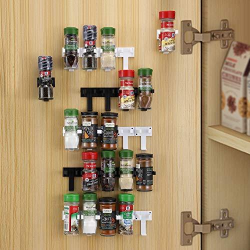 CAXXA 25 Spice Gripper Strip Clips Extra Support Spice Rack Dispenser Cabinet Kitchen Holder Storage   5 Strips Holds 25 Spice Jars, 2 Black and 3 White Strips