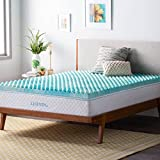 Linenspa 3 Inch Convoluted Gel Swirl Memory Foam Mattress Topper - Promotes Airflow - Relieves Pressure Points - Queen