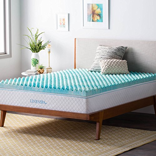 Linenspa 3 Inch Convoluted Gel Swirl Memory Foam Mattress Topper - Promotes Airflow - Relieves Pressure Points - Twin