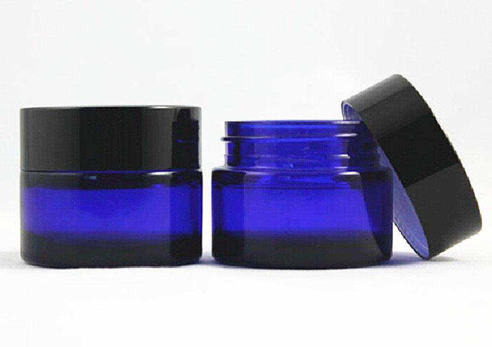 Blue Heavywall Glass 1 oz Amber Salve Jar w/ Black Lid 4 pk