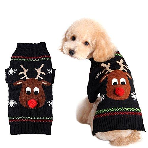 Haustier Hund Weihnachten Winter warm Pullover Bekleidung schwarz XXS,XS,S,M,L,XL (XS)