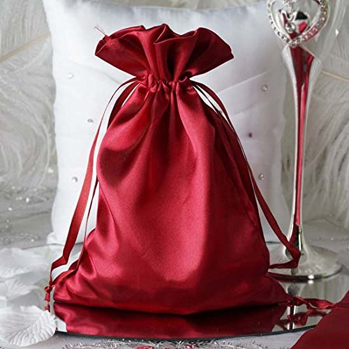(Efavormart 60PCS Burgundy Satin Gift Bag Drawstring Pouch Wedding Favors Bridal Shower Candy Jewelry Bags - 6