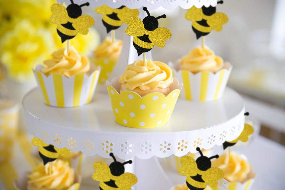 Glitter Bumble Bee Cupcake Toppers For Bumble Bee Gender Reveal Baby