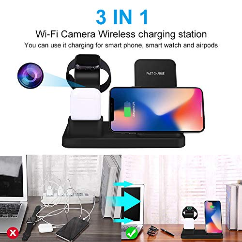 Wireless Hidden Camera Charger- Aisoul HD 1080P Spy Camera Detector Real-time Live Video Motion Detection Alarm Micro SD Card Loop Recording Smartphone App Video Remote Monitoring Nanny Camera