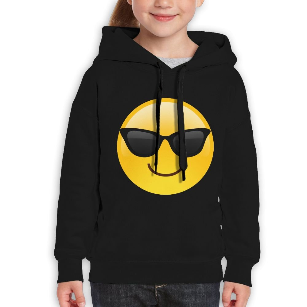 Vintopia Boy Smiling Face With Sunglasses Cool Emoji Casual Style Walk Black Hoodies M