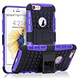 iPhone 6S Case, NOVT iPhone 6 / 6S Case Shock Absorbing Hybrid Best Impact Defender Rugged Slim Dual Layer Phone Case with Kickstand for Apple iPhone 6 / 6S 4.7 Inch (Black+Purple)