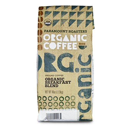Certified Organic Coffee, Breakfast Blend, Medium Roast from Paramount Roasters, 40 oz, Ground, USDA Certified, Kosher ()